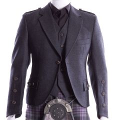 Crail Kilt Jacket and Waistcoat, Hebridean Grey Charcoal Tweed