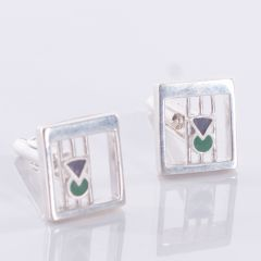 Sterling Silver Purple and Green Coloured Enamel Thistle Cufflinks