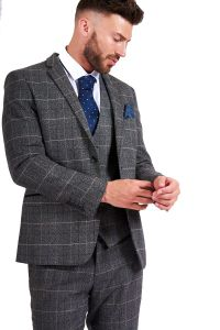 Mens 3 Piece Scott Grey Suit by Marc Darcy