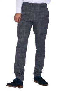 Enzo, Blue & Grey Tweed Trousers by Marc Darcy