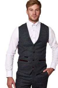 Luca, Navy Tweed Waistcoat by Marc Darcy
