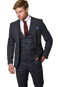 Luca, Navy Tweed Jacket by Marc Darcy