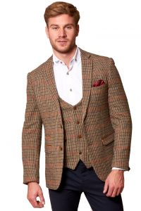Mens Edward, Olive Jacket and Waistcoat Set by Marc Darcy