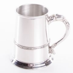 Thin Band Pewter Tankard, 1 Pint, Engravable