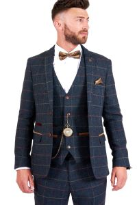 Eton Blue, Tweed Check Suit Jacket by Marc Darcy