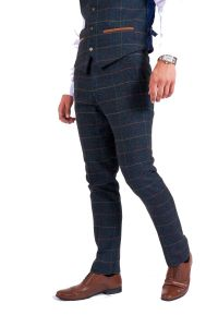 Eton Blue, Tweed Check Trousers by Marc Darcy