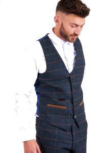Eton Blue, Tweed Check Waistcoat by Marc Darcy