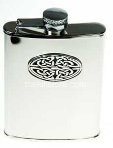 Hip Flask, Celtic Weave, 6oz