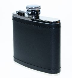 Hip Flask, Black leather, Stainless Steel, 4oz