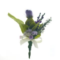 Purple Thistle Ivory Ribbon Buttonhole