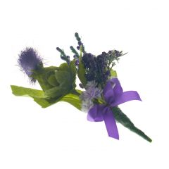 Purple Thistle Purple Ribbon Buttonhole
