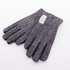 Leather Gloves With Harris Tweed Grey And Red Back