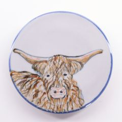Small Round Highland Cow Stand by Highland Stoneware