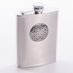Hip Flask with Celtic Design in Satin Finish, 6oz