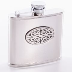 Hip Flask, Celtic Design, 4oz, Polished Finish