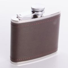 Burgundy Leather Hip Flask, 4oz