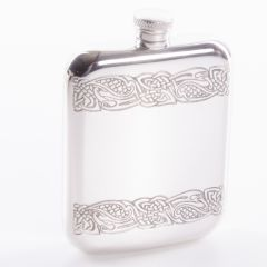 Double Celtic Band Pewter Hip Flask, 6oz