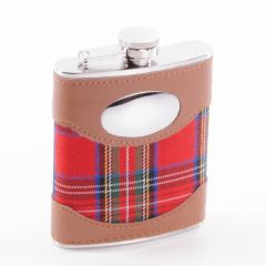 Stainless Steel Royal Stewart Hip Flask, 6oz