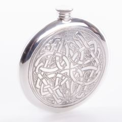 Round Celtic Pewter Hip Flask, 4oz