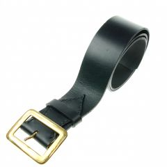 Black Leather Belt, Saddlery Leather, Brass Buckle