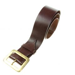 Brown Leather Belt, Saddlery Leather, Brass Buckle