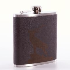 Brown Leather Stag Flask by Leather Guild
