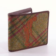 Green Tweed Embroided Golf Wallet by Leather Guild