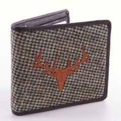 Grey Tweed Stags Head Embroided Wallet by Leather Guild