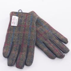 Leather Gloves with Harris Tweed Green and Red back