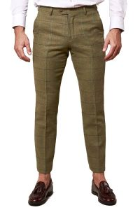 Ellis, Moss Green Tweed Trousers by Marc Darcy