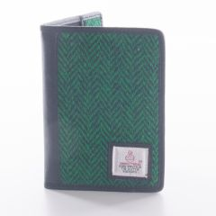 Green Harris Tweed Passport Wallet