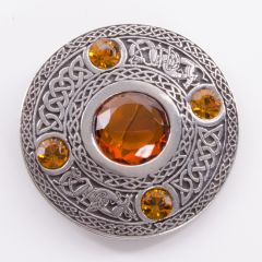5 Stone Topaz Plaid Brooch