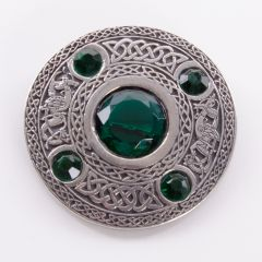 5 stone Emerald Plaid Brooch