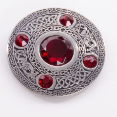 5 Stone Ruby Plaid Brooch