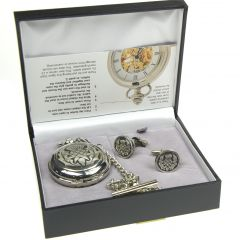 Gift Set, 2 Piece, Pocket Watch & Cufflinks, Thistle