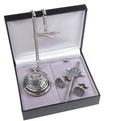 Gift Set, 3 Piece, Pocket Watch, Kilt Pin & Cufflinks, Thistle