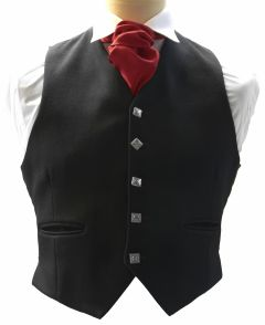 Prince Charlie 5 Button Waistcoat in Black Barathea