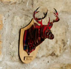 Wall Mounted Tartan Stag Head, Royal Stewart