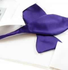 Self Tie Bow Tie Purple Satin Look Polyester