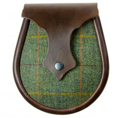 Leather Sadllery Sporran in Green Tweed Ness