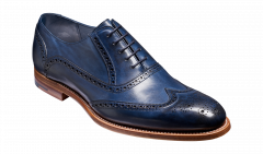 Navy Hand Painted Valiant Brogue by Barkers