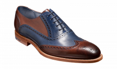 Ebony and Navy Hand Painted Valiant Brogue by Barkers