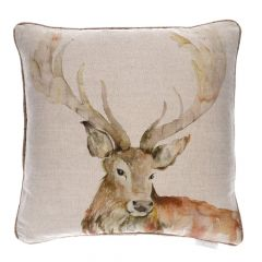 Gregor Stag Linen Cushion by Voyage Maison
